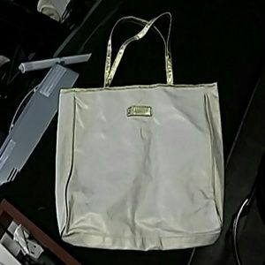 Tote Bag Clarins Cream Colored with Gold Accents